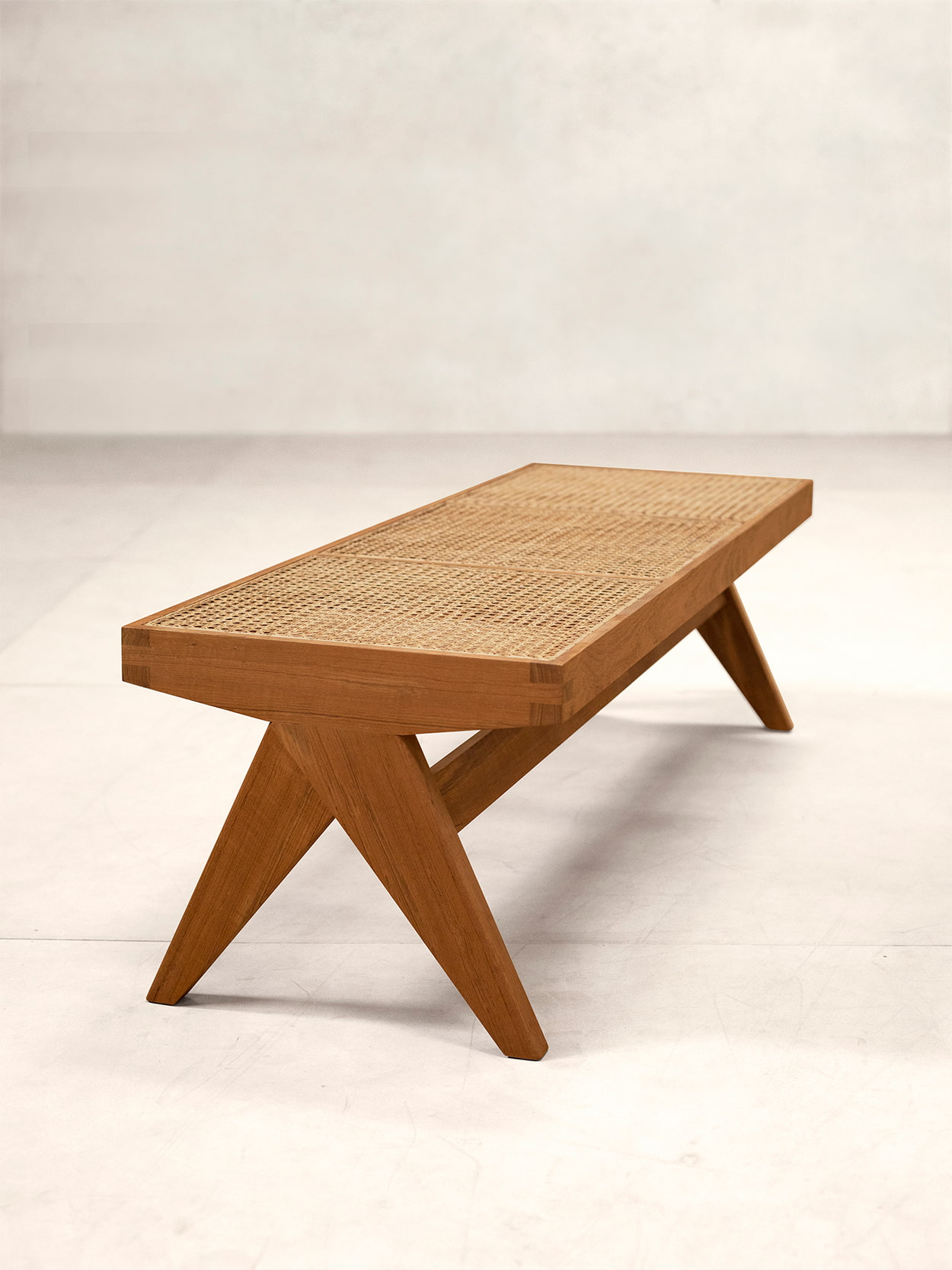Teak and Cane Bench 1
