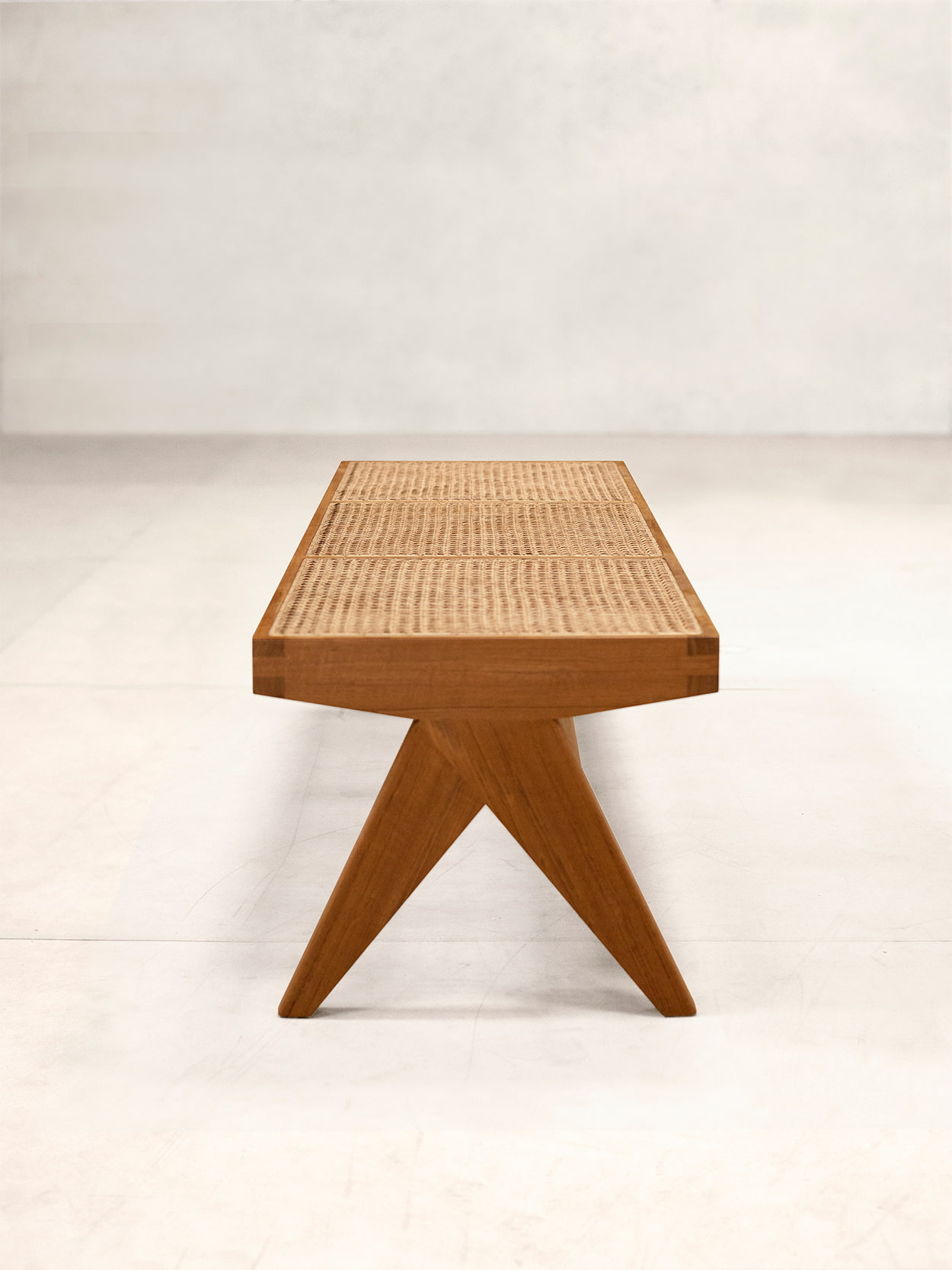 Teak and Cane Bench 2