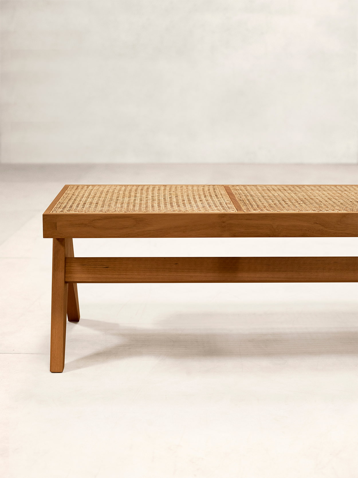 Teak and Cane Bench 3
